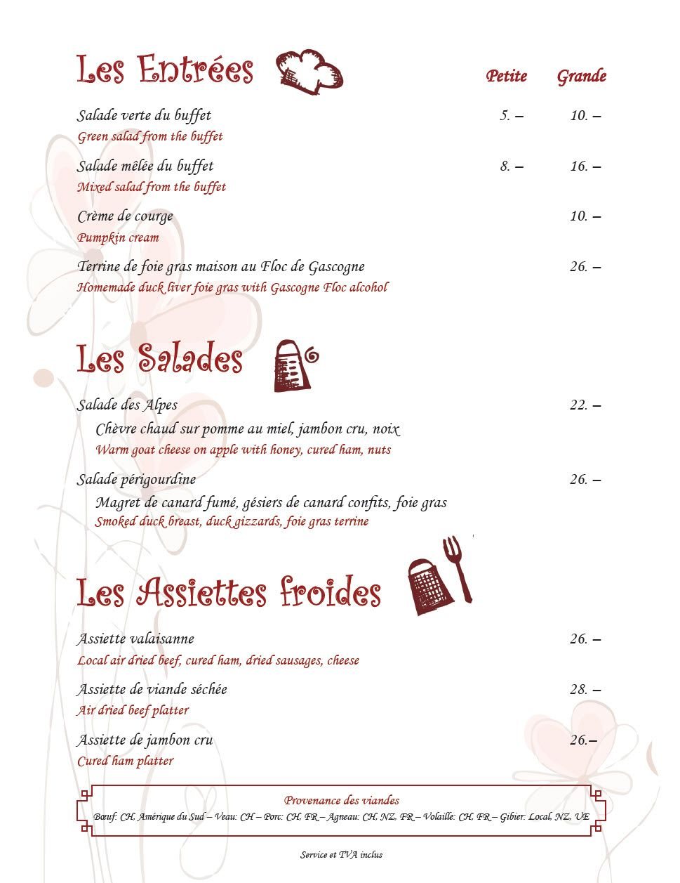 Menu - Restaurant Le Gueullhi